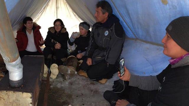 Muskrat Falls in tent