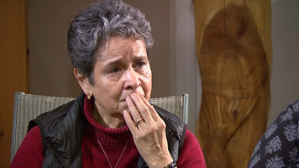 Carol Raymond fights tears trying to explain what it means to be excluded from Peters First Nation where her family is buried.