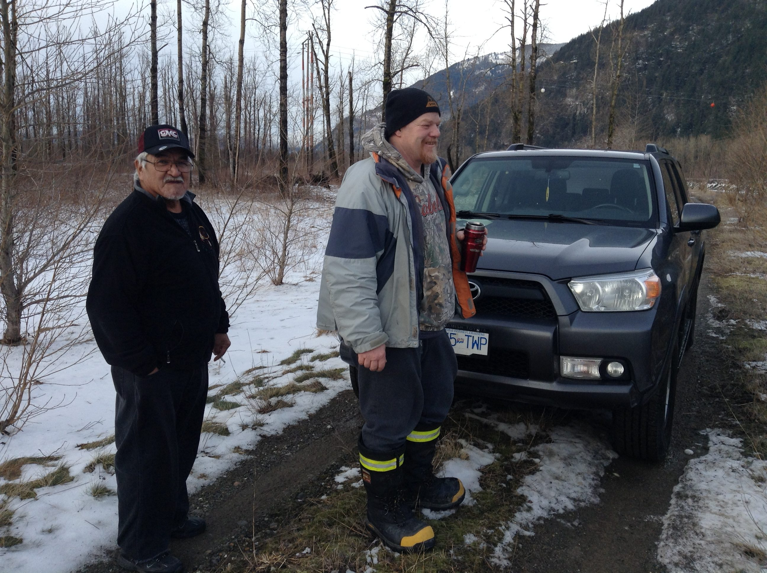 Ed Peters, left, with Darryl Kipp on Peters First Nation.