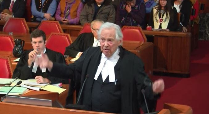 Lawyer Thomas Berger inside the Supreme Court of Canada Wednesday.