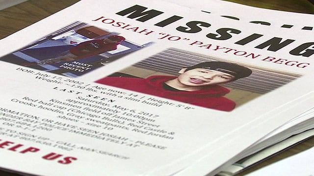 Posters seeking help in finding Josiah Begg, 14, when he first went missing.