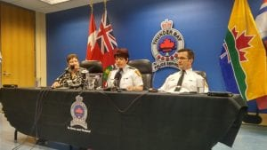 Acting police chief Sylvie Hauth, centre, speaks at a media conference Wednesday addressing the current situation in Thunder Bay. Police services board Chair Jackie Dojack, left, and acting deputy chief Don Lewis also spoke Wednesday.