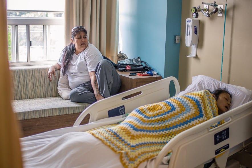 Melissa Kentner, left, with her sister Barbara Kentner on June 27, 2017, St. Joseph's Hospital, hospice unit. Willow Fiddler, APTN