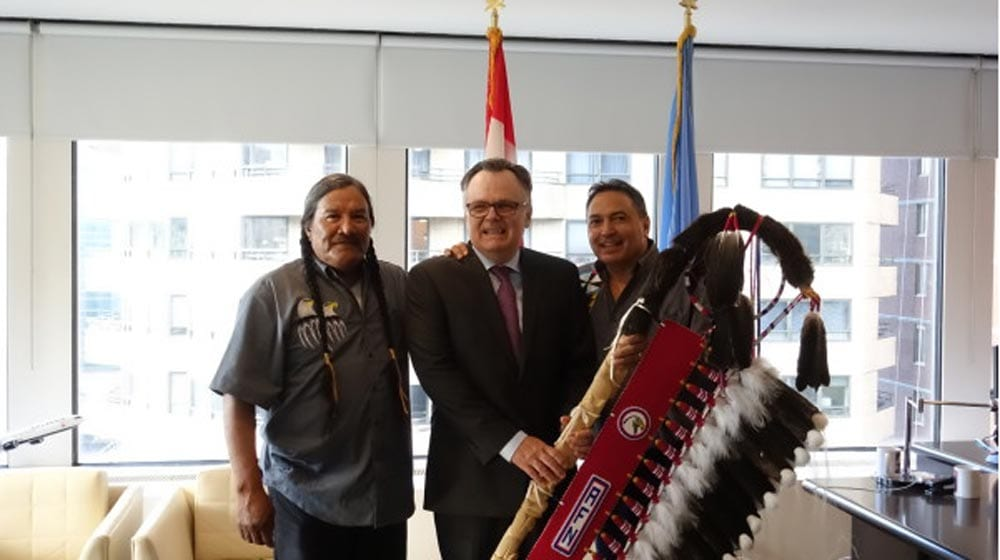 AFN-National-Chief-Perry-Bellegarde-Presents-Eagle-Staff-to-Canada-to-Commemorate-the-10th-Anniversary-of-the-UN-Declaration-on-the-Rights-of-Indigenous-Peoples--1000x560