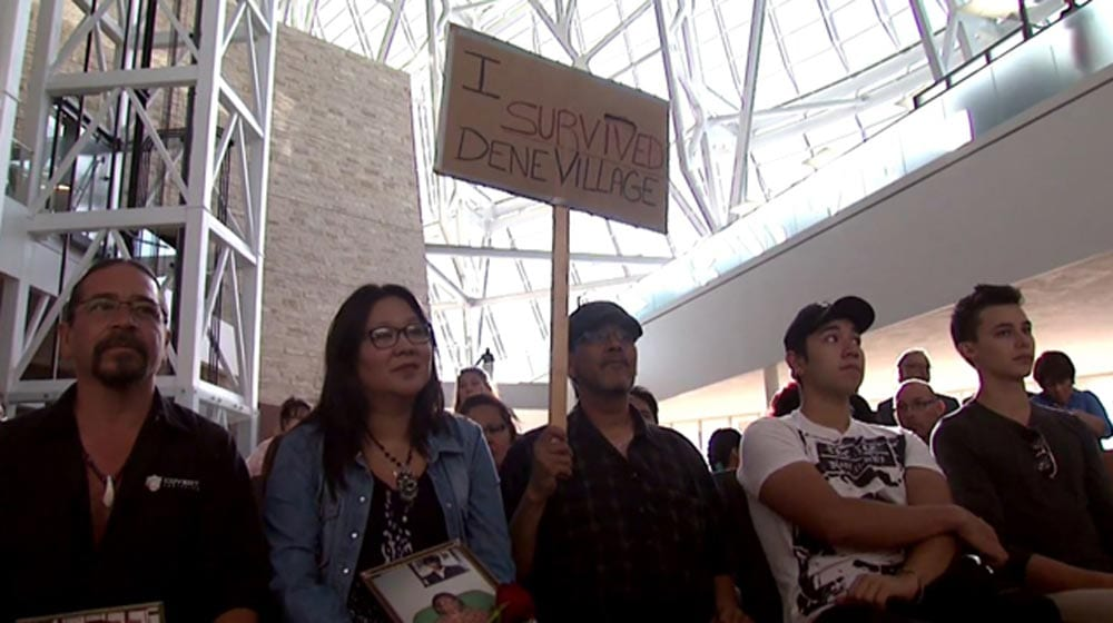 Sayisi Dene First Nation at a federal government apology in 2016 for the loss of traditional lands 1000-x-560