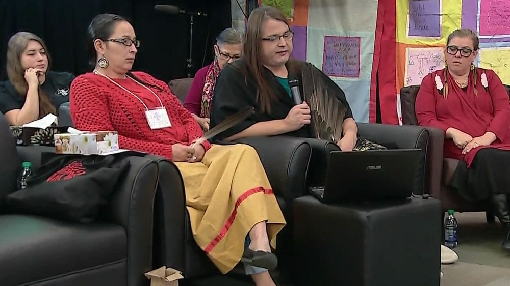 Alaya McIvor, a member of Winnipeg's trans community, speaking at the National Inquiry into Missing and Murdered Indigenous Women.