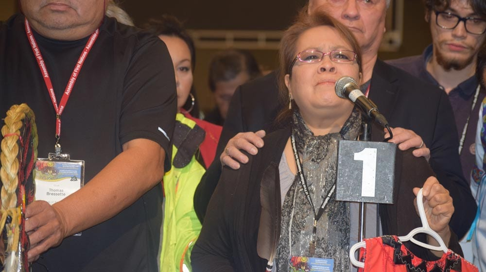 Jocelyn Wabano-Iahtail at the Assembly of First Nations special chiefs assembly in Ottawa.