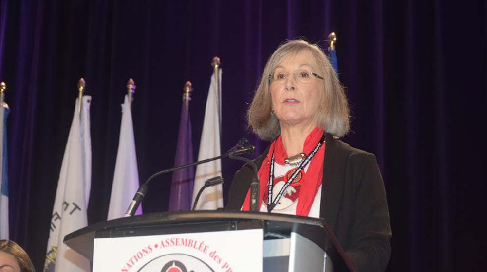 Inquiry commissioner Marion Buller addresses the Assembly of First Nations special chiefs assembly in Ottawa.