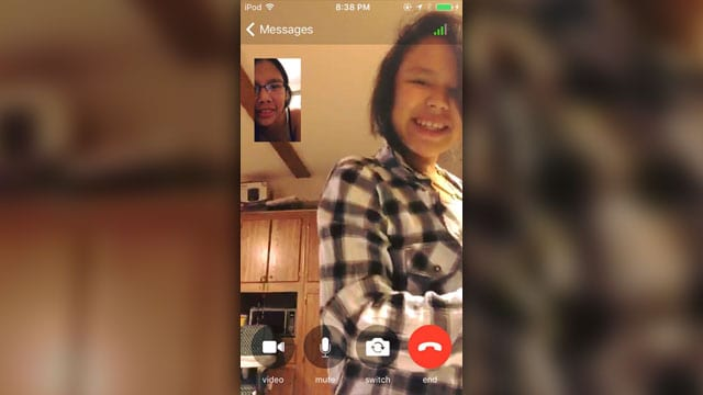 Kanina Turtle, in the small screen, with Jolynn on Facetime a couple days before Turtle's death.