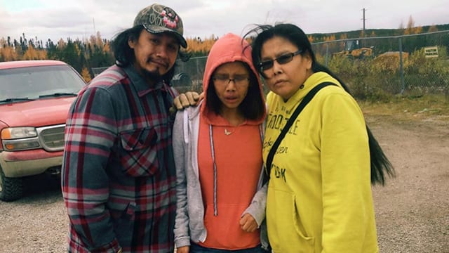 Kanina Sue Turtle, middle, with father Clarence Suggashis and mother Barbara Suggashie visiting Poplar Hill First Nation for a funeral Oct. 18, 2016. She died by suicide Oct. 29, 2016. Photo provided by family.