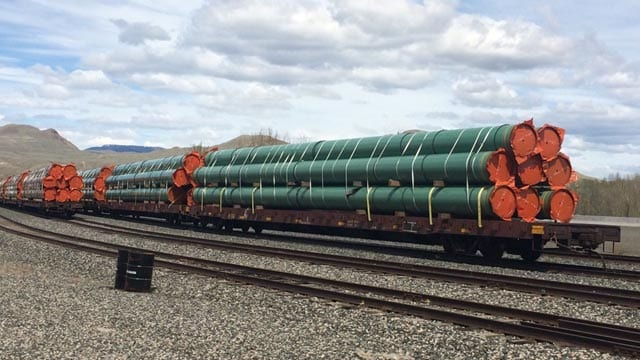 Rail cars carrying pipelines sit idle in Kamloops, B.C. Lucy Scholey/APTN