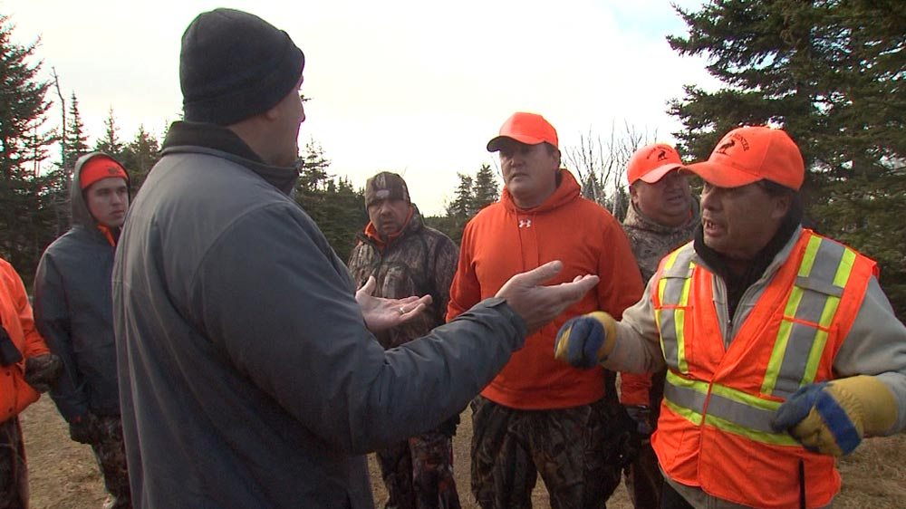 Non-Indigenous hunters confront Mi'kmaw hunters in December 2015 in Cape Breton Highlands National Park. Photo: APTN
