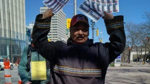 Angus Andersen, of Nunatsiavut, Labrador, travelled to Parliament Hill on Monday to rally against the Muskrat Falls hydroelectric dam. Lucy Scholey/APTN