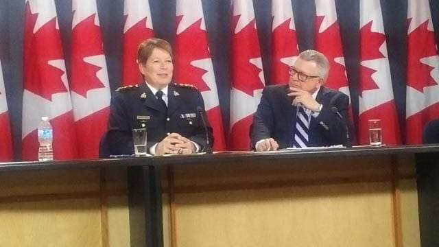 RCMP Commissioner Brenda Lucki, and Public Safety Minister Ralph Goodale. May 7. 2018