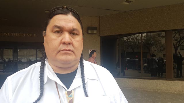 60s Scoop Survivor Peter Van Name at the hearings in Saskatoon. Photo: Brittany Hobson/APTN