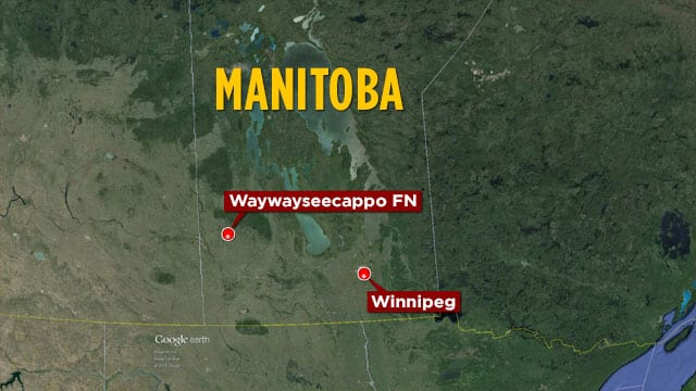 Map of Waywayseecappo First Nation in Manitoba