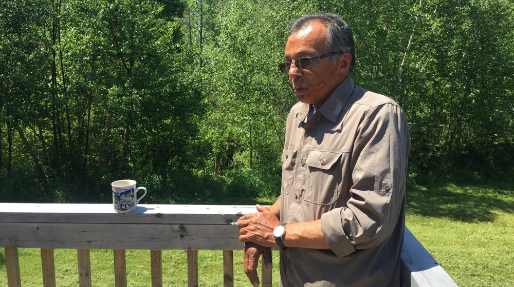 Elder Carl Thomas at his home in Pictou Landing. Photo: Luke Yoho/APTN