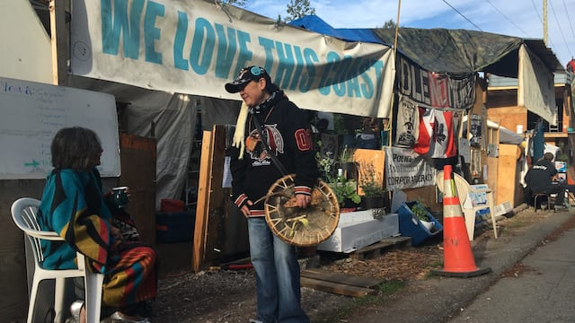 (Coast Salish water protectors say an eviction notice to Camp Cloud issued by the City of Burnaby earlier this month ignores their rights as Indigenous people who have never ceded their lands. Photo:  Justin Brake/APTN)