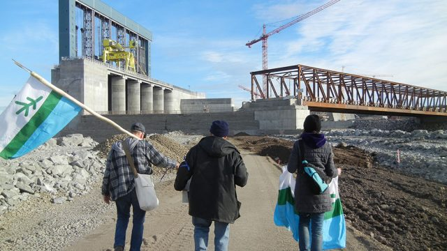 Labrador Land Protectors march onto the Muskrat Falls project site in October 2016. Photo courtesy: TheIndependent.ca