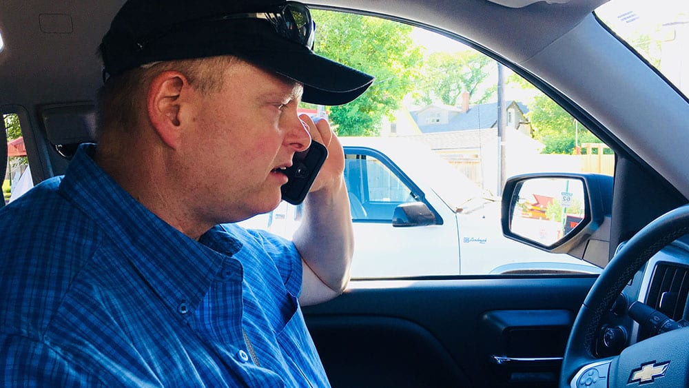 Sgt. McDougall with the WPS' Counter Exploitation and Missing Persons Unit takes APTN Investigates Holly Moore and Martha Troian for a ride-along on June 15, 2018. Photo: Martha Troian/APTN Investigates