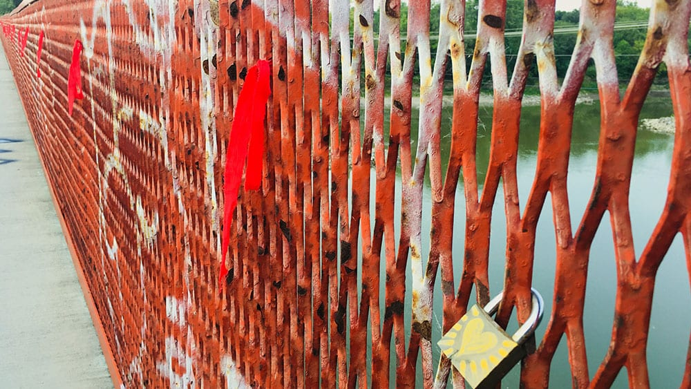 Bridges in Winnipeg are embellished with red ribbons representing missing and murdered Indigenous women and girls. Photo: Martha Troian/APTN Investigates