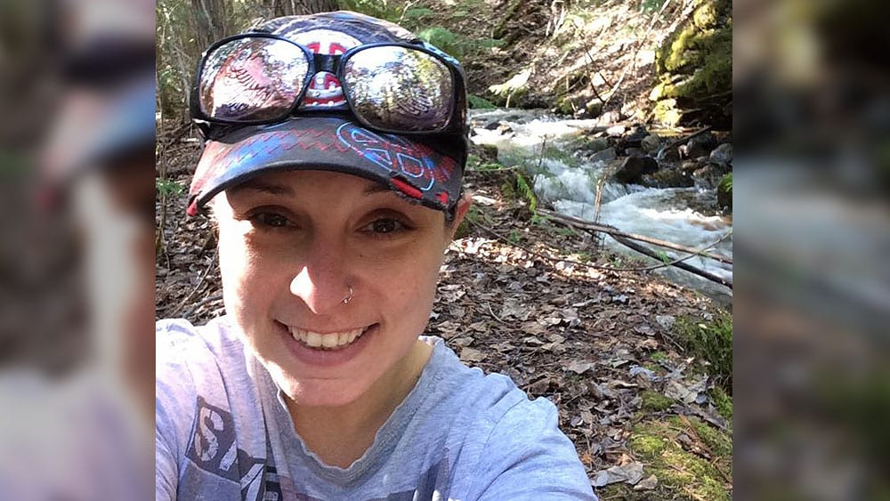 Ashley Simpson at the creek on Yankee Flats road where she loved to walk everyday. Photo: Facebook.