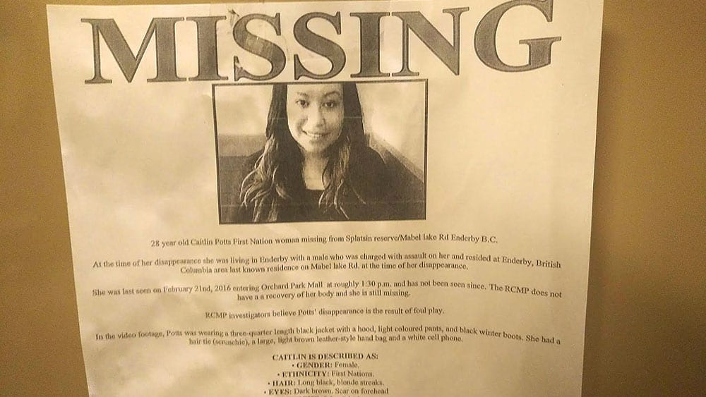A missing person poster at the local Tim Hortons in the town of Enderby, BC where Caitlin Potts had been living with a boyfriend in 2016. Photo: Holly Moore/APTN