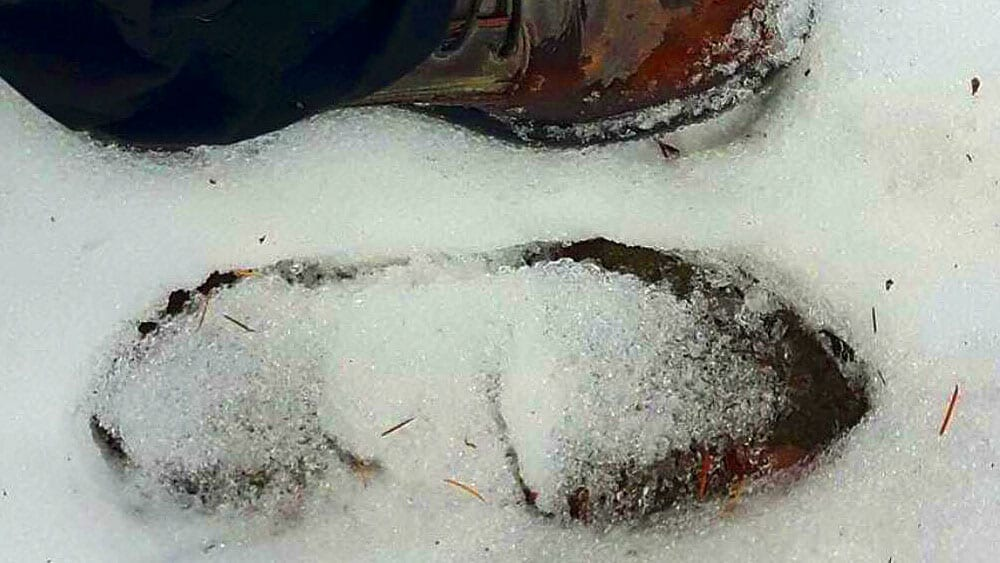A boot print in the mud. The MMIW drone team has collected and passed onto RCMP. Photo: Wendy Mohr