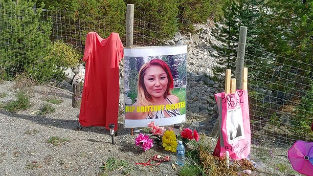 A memorial to Brittany Martel off the Coquihalla Highway in the central interior of B.C.
