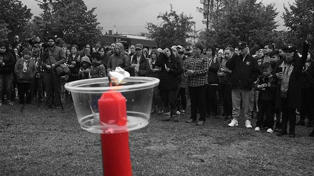 A supporter posted this photo on Facebook of Sunday's vigil for Jessica Patrick in Smithers, B.C.
