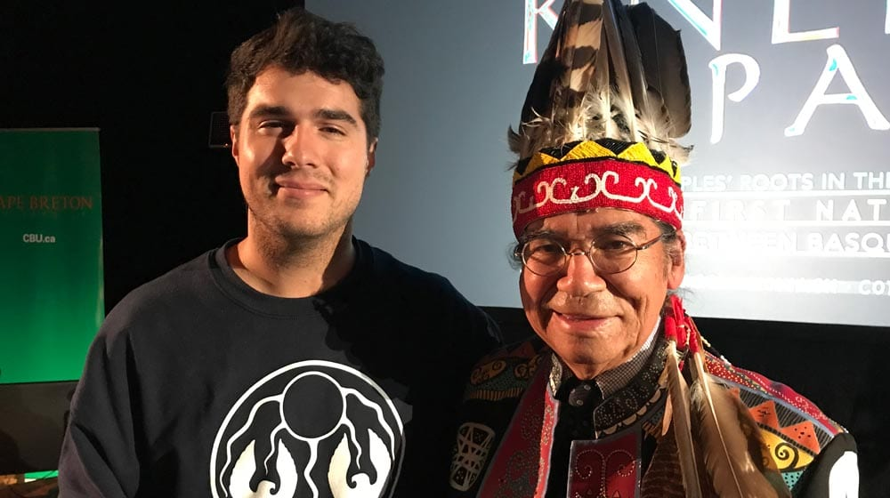 Singer Jeremy Dutcher and Stephen Augustine, Hereditary Chief on the Mi'kmaq Grand Council. Photo: Angel Moore/APTN