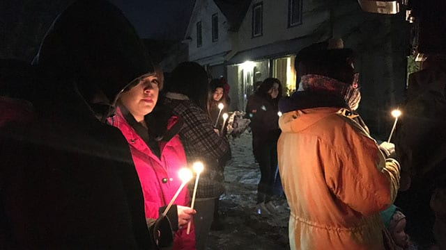 (About 40 people gathered to remember Christopher Teddy McIvor in Winnipeg. Photo: Brittany Hobson/APTN)