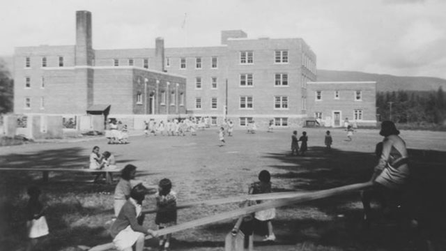 Children play on the grounds of the Alberni Indian Residential School.Photo courtesy: Tseshaht First Nation