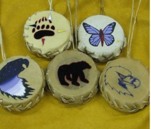 Small drums produced by Warkworth Institution 'Native crafts' workshop. Photo from CORCAN PowerPoint