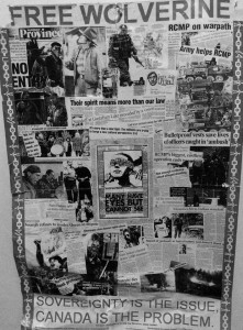 """A """"Free Wolverine"""" collage of newspaper clippings about Gustafsen Lake standoff."""