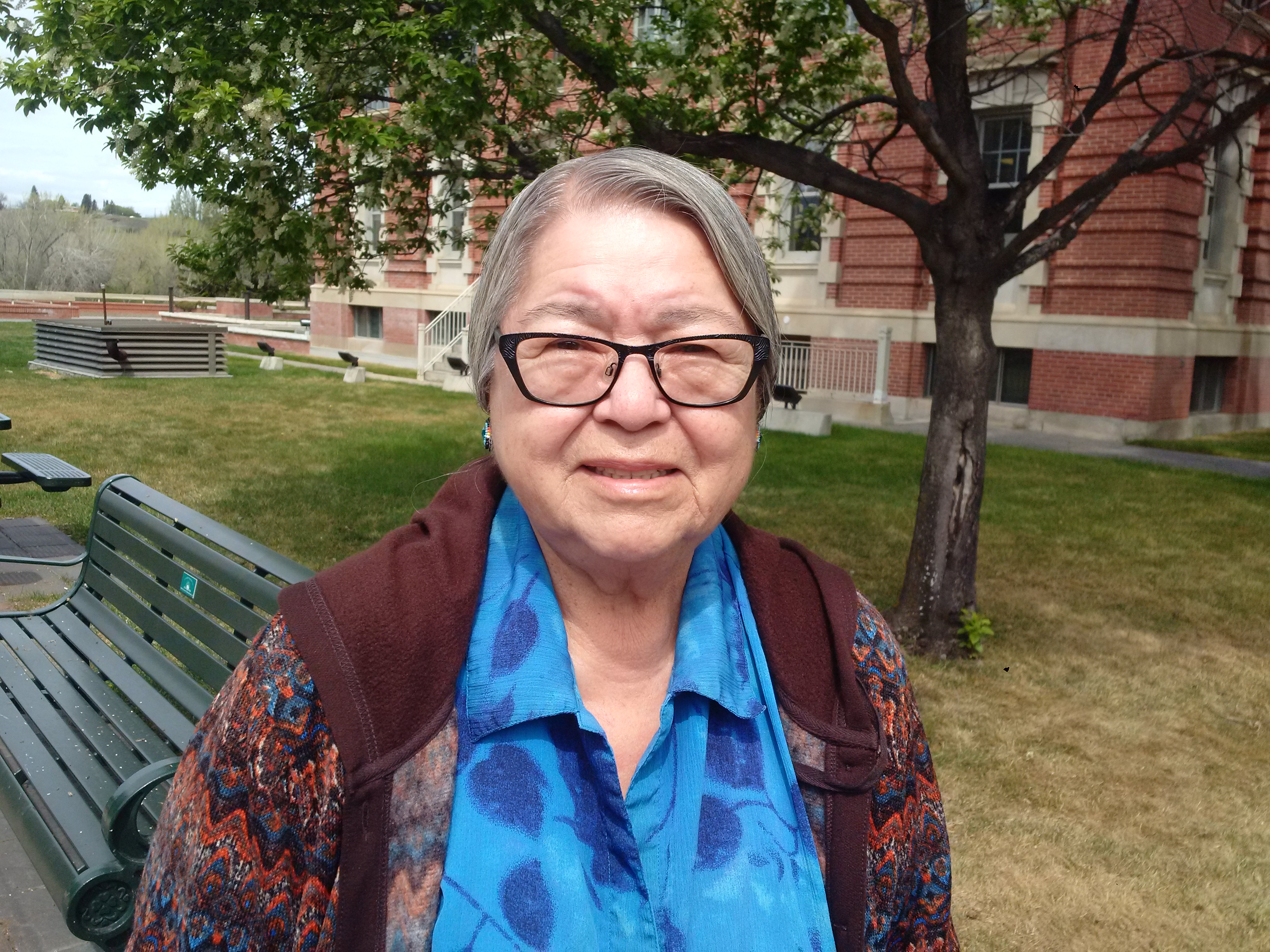 Margaret Oakes, Connie Oakes' adoptive mother, smiles following the hearing in Medicine Hat, Alta., Thursday.