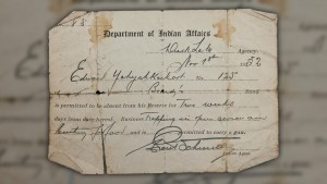 Pass to temporarily leave the reserve issued by an Indian Agent for the Department of Indian Affairs in 1932
