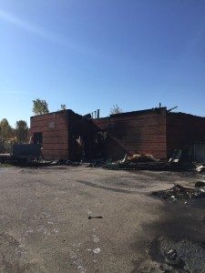 The remains of the abandoned Kanesatake Mohawk Police station which burned down Monday. Photo courtesy of Kanesatake Grand Chief Serge Simon.