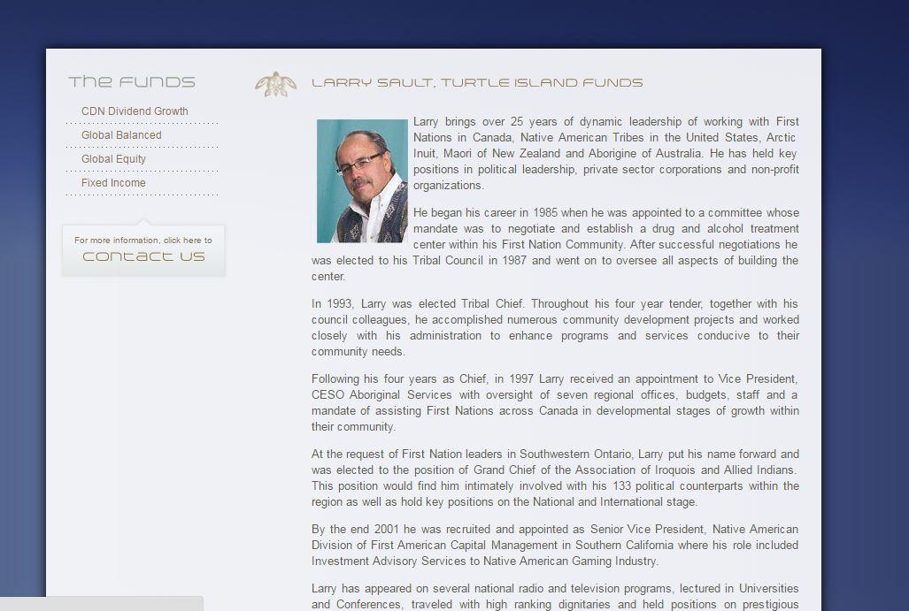 Bio of Larry Sault on Turtle Island Funds now defunct website.