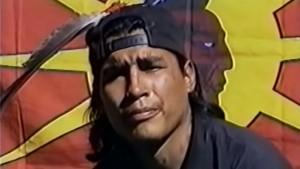 "James ""OJ"" Pitawanakwat during the Gustafsen Lake standoff in 1995. YouTube"