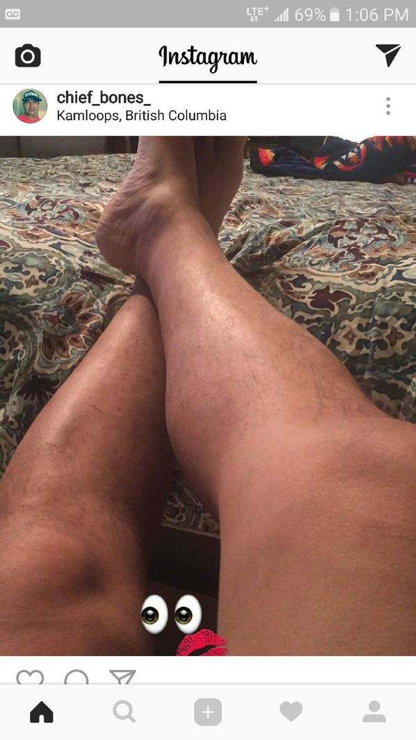 Photograph of Shane Gottfriedsen's legs with emoji by crotch posted on the AFN regional chief's Instagram account on Saturday.