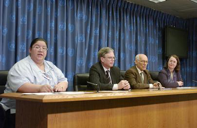 Sherry Lewis, left, as seen at the United Nations in New York in 2005 announcing the Sisters in Spirit funding. UN photo
