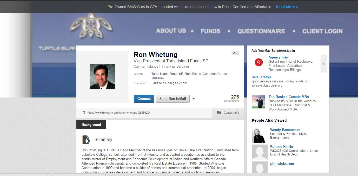 LinkedIn profile of Ron Whetung.