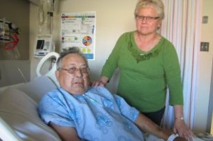 Antoine and his wife Donna Delormier at the Cornwall hospital Thursday.