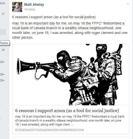 Matthew Morgan-Brown's Facebook post about arson and Royal Bank firebombing.