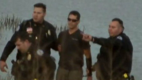 APTN video image of Kyle Thompson detained by Bureau of Indian Affairs agents.