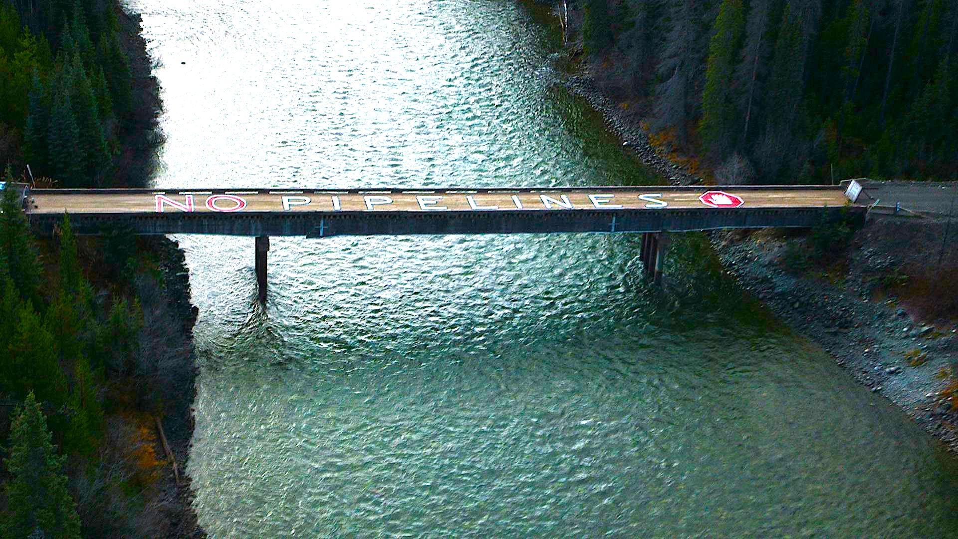 Bridge leading to the Unist'ot'en camp dug-in along Enbridge's proposed Northern Gateway pipeline route.